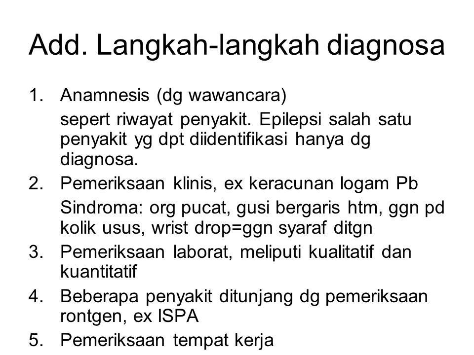 Add. Langkah-langkah diagnosa 1.Anamnesis (dg wawancara) sepert riwayat penyakit. Epilepsi salah satu penyakit yg dpt diidentifikasi hanya dg diagnosa