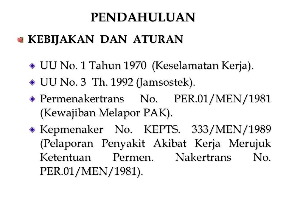 PENDAHULUAN KEBIJAKAN DAN ATURAN UU No. 1 Tahun 1970 (Keselamatan Kerja). UU No. 3 Th. 1992 (Jamsostek). Permenakertrans No. PER.01/MEN/1981 (Kewajiba