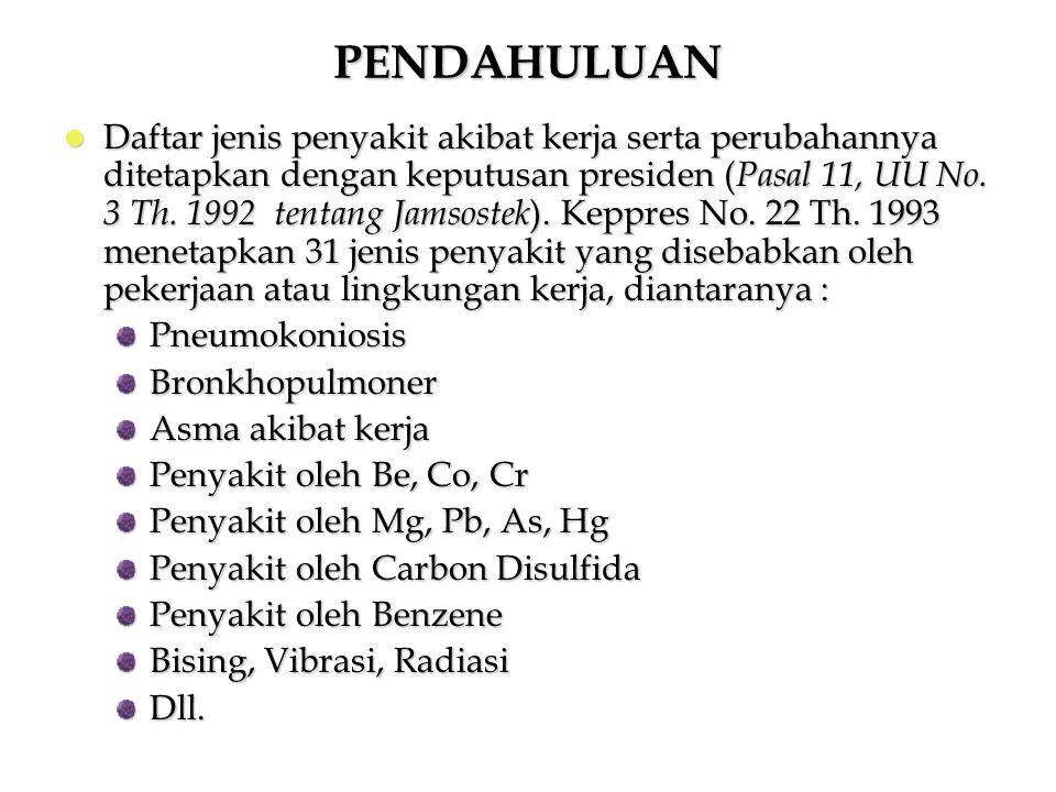 Daftar jenis penyakit akibat kerja serta perubahannya ditetapkan dengan keputusan presiden ( Pasal 11, UU No. 3 Th. 1992 tentang Jamsostek ). Keppres
