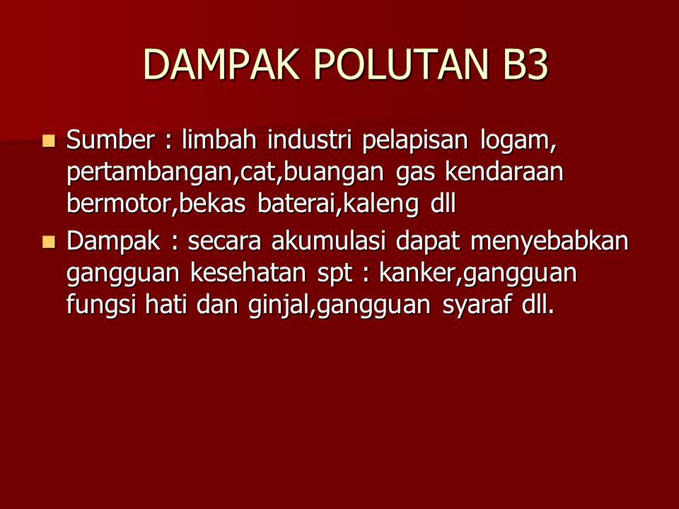 DAMPAK POLUTAN B3 DAMPAK POLUTAN B3 Sumber : limbah industri pelapisan logam, pertambangan,cat,buangan gas kendaraan bermotor,bekas baterai,kaleng dll