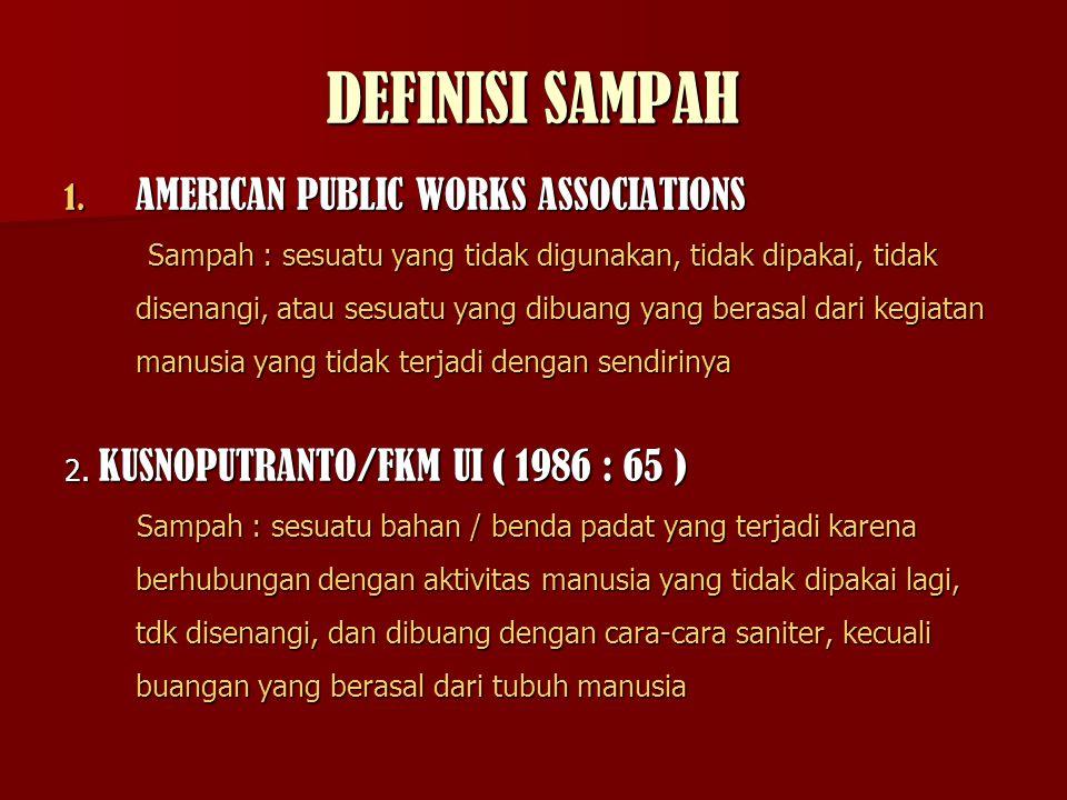 DEFINISI SAMPAH 1. AMERICAN PUBLIC WORKS ASSOCIATIONS Sampah : sesuatu yang tidak digunakan, tidak dipakai, tidak disenangi, atau sesuatu yang dibuang