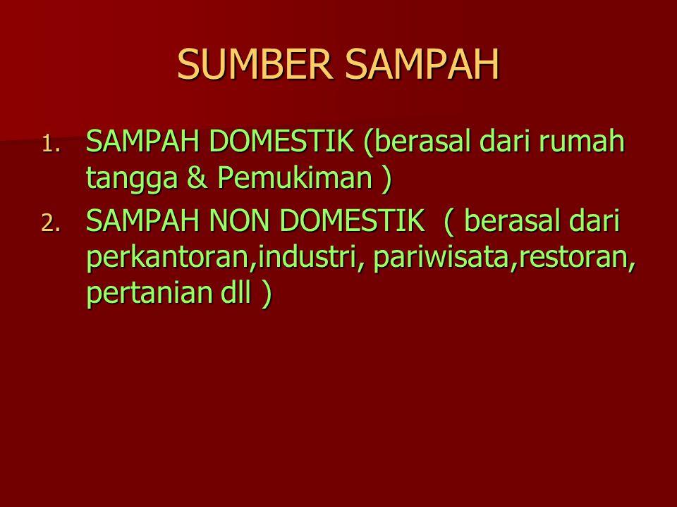 SUMBER SAMPAH 1. SAMPAH DOMESTIK (berasal dari rumah tangga & Pemukiman ) 2. SAMPAH NON DOMESTIK ( berasal dari perkantoran,industri, pariwisata,resto