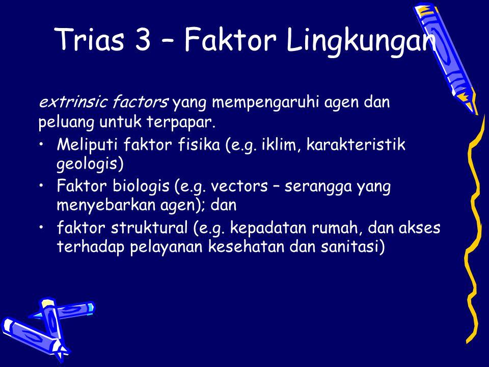 Trias 3 – Faktor Lingkungan extrinsic factors yang mempengaruhi agen dan peluang untuk terpapar. Meliputi faktor fisika (e.g. iklim, karakteristik geo