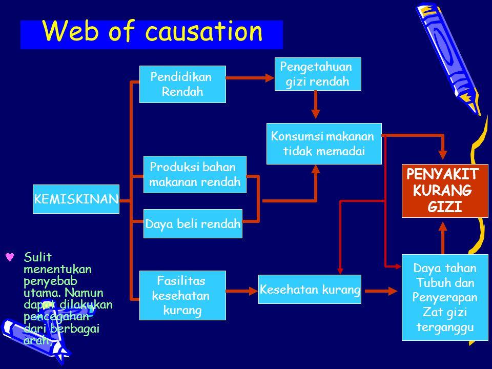 Web of causation Pendidikan Rendah KEMISKINAN Produksi bahan makanan rendah Fasilitas kesehatan kurang Daya beli rendah Pengetahuan gizi rendah Konsum