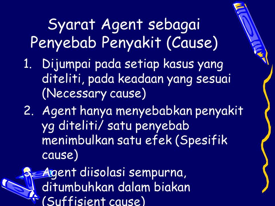 Syarat Agent sebagai Penyebab Penyakit (Cause) 1.Dijumpai pada setiap kasus yang diteliti, pada keadaan yang sesuai (Necessary cause) 2.Agent hanya me