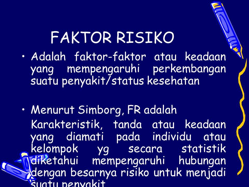 FAKTOR RISIKO Adalah faktor-faktor atau keadaan yang mempengaruhi perkembangan suatu penyakit/status kesehatan Menurut Simborg, FR adalah Karakteristi