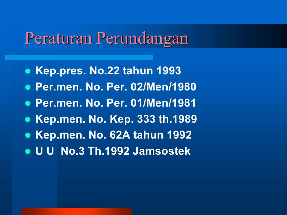 Peraturan Perundangan Kep.pres. No.22 tahun 1993 Per.men. No. Per. 02/Men/1980 Per.men. No. Per. 01/Men/1981 Kep.men. No. Kep. 333 th.1989 Kep.men. No
