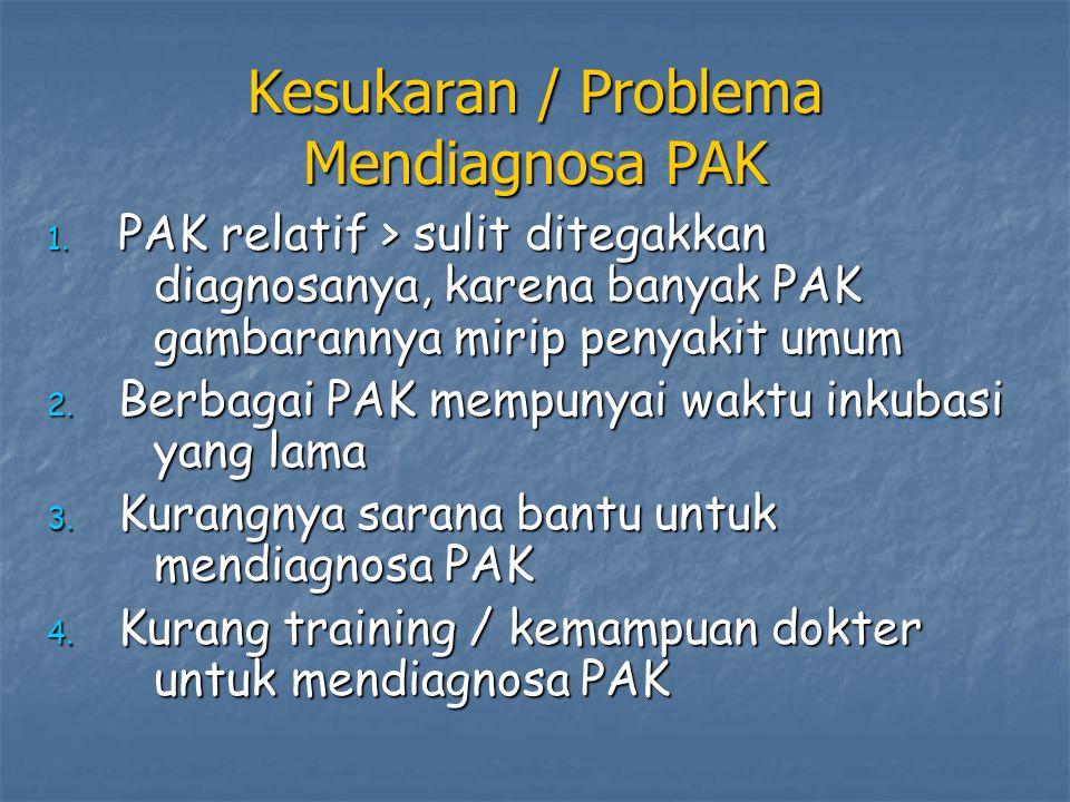 Kesukaran / Problema Mendiagnosa PAK 1. PAK relatif > sulit ditegakkan diagnosanya, karena banyak PAK gambarannya mirip penyakit umum 2. Berbagai PAK
