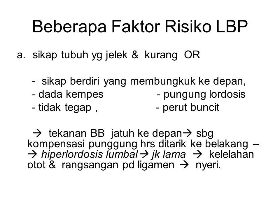 Beberapa Faktor Risiko LBP a.sikap tubuh yg jelek & kurang OR - sikap berdiri yang membungkuk ke depan, - dada kempes- pungung lordosis - tidak tegap, - perut buncit  tekanan BB jatuh ke depan  sbg kompensasi punggung hrs ditarik ke belakang --  hiperlordosis lumbal  jk lama  kelelahan otot & rangsangan pd ligamen  nyeri.