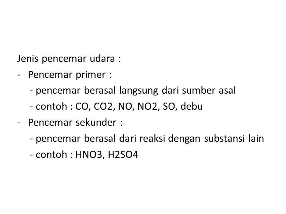 Jenis pencemar udara : -Pencemar primer : - pencemar berasal langsung dari sumber asal - contoh : CO, CO2, NO, NO2, SO, debu -Pencemar sekunder : - pe