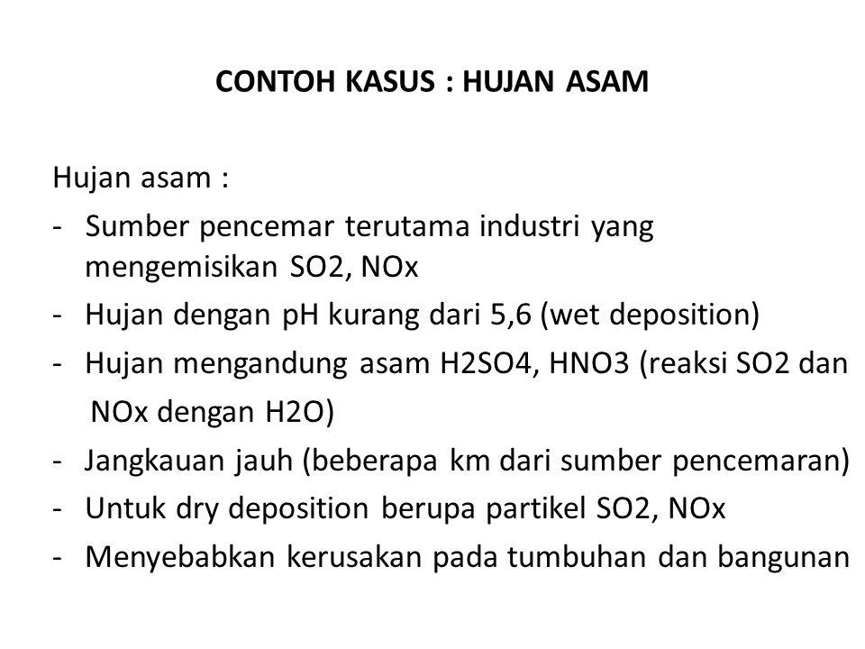 CONTOH KASUS : HUJAN ASAM Hujan asam : - Sumber pencemar terutama industri yang mengemisikan SO2, NOx -Hujan dengan pH kurang dari 5,6 (wet deposition