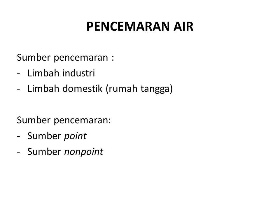 PENCEMARAN AIR Sumber pencemaran : -Limbah industri -Limbah domestik (rumah tangga) Sumber pencemaran: -Sumber point -Sumber nonpoint
