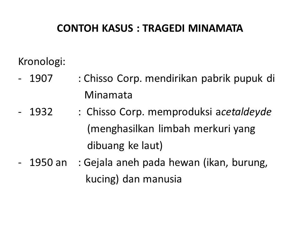 CONTOH KASUS : TRAGEDI MINAMATA Kronologi: -1907 : Chisso Corp. mendirikan pabrik pupuk di Minamata -1932: Chisso Corp. memproduksi acetaldeyde (mengh
