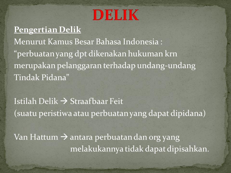 Pengertian Delik Menurut Kamus Besar Bahasa Indonesia : perbuatan yang dpt dikenakan hukuman krn merupakan pelanggaran terhadap undang-undang Tindak Pidana Istilah Delik  Straafbaar Feit (suatu peristiwa atau perbuatan yang dapat dipidana) Van Hattum  antara perbuatan dan org yang melakukannya tidak dapat dipisahkan.