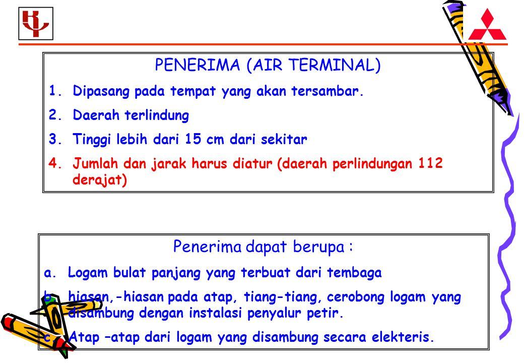 PENERIMA (AIR TERMINAL) 1.Dipasang pada tempat yang akan tersambar.