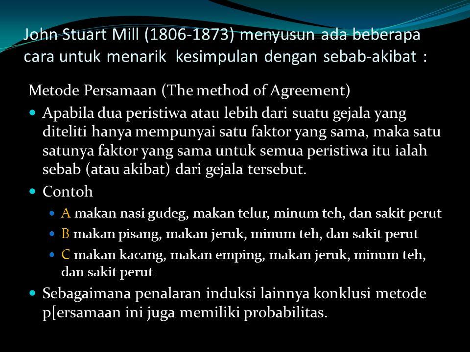 John Stuart Mill (1806-1873) menyusun ada beberapa cara untuk menarik kesimpulan dengan sebab-akibat : Metode Persamaan (The method of Agreement) Apab