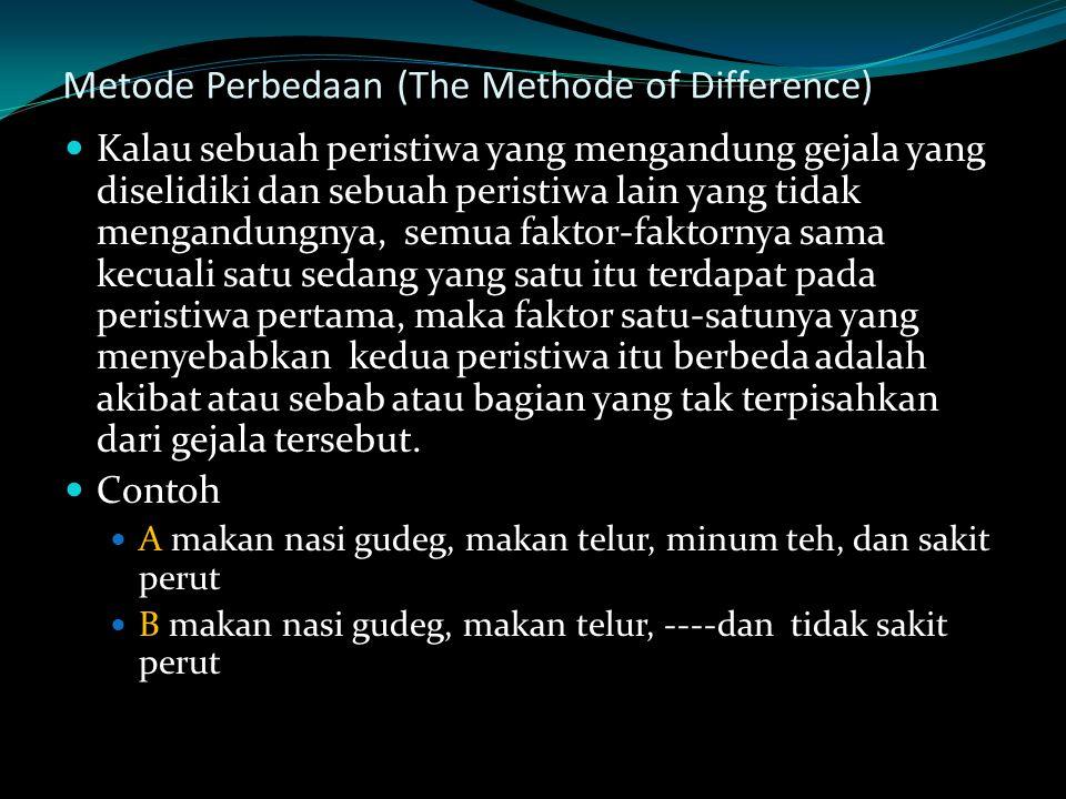 Metode Perbedaan (The Methode of Difference) Kalau sebuah peristiwa yang mengandung gejala yang diselidiki dan sebuah peristiwa lain yang tidak mengan