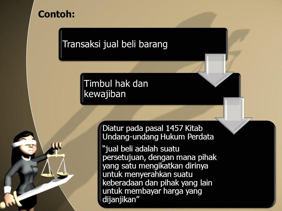 """Contoh: Transaksi jual beli barang Timbul hak dan kewajiban Diatur pada pasal 1457 Kitab Undang-undang Hukum Perdata """"jual beli adalah suatu persetuju"""