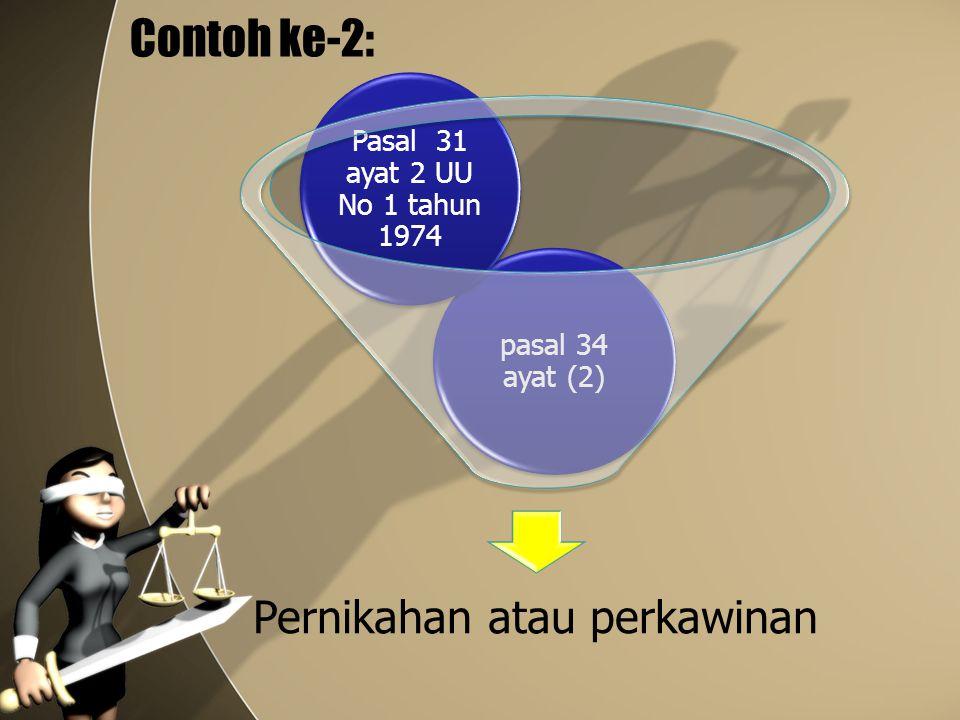 Contoh ke-2: Pernikahan atau perkawinan pasal 34 ayat (2) Pasal 31 ayat 2 UU No 1 tahun 1974