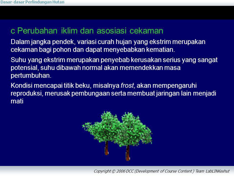 Dasar-dasar Perlindungan Hutan Copyright © 2006 DCC (Development of Course Content ) Team LabLINKeshut c Perubahan iklim dan asosiasi cekaman Dalam ja