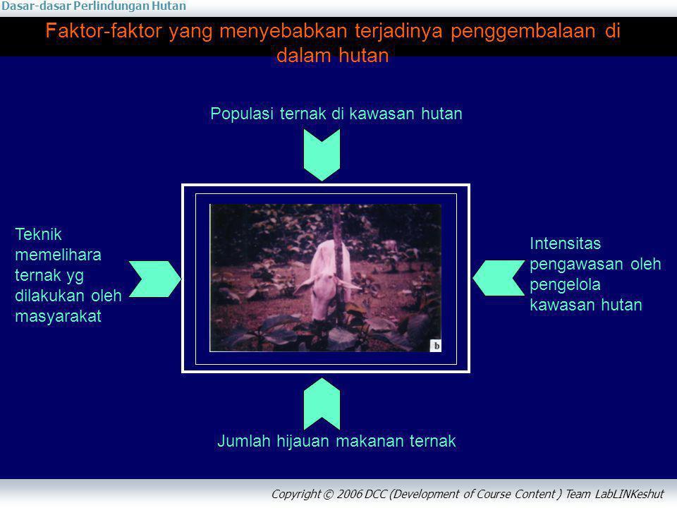 Dasar-dasar Perlindungan Hutan Copyright © 2006 DCC (Development of Course Content ) Team LabLINKeshut Faktor-faktor yang menyebabkan terjadinya pengg