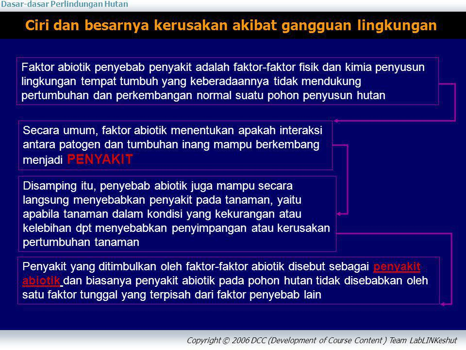 Dasar-dasar Perlindungan Hutan Copyright © 2006 DCC (Development of Course Content ) Team LabLINKeshut Klasifikasi kerusakan akibat gangguan lingkungan 1.