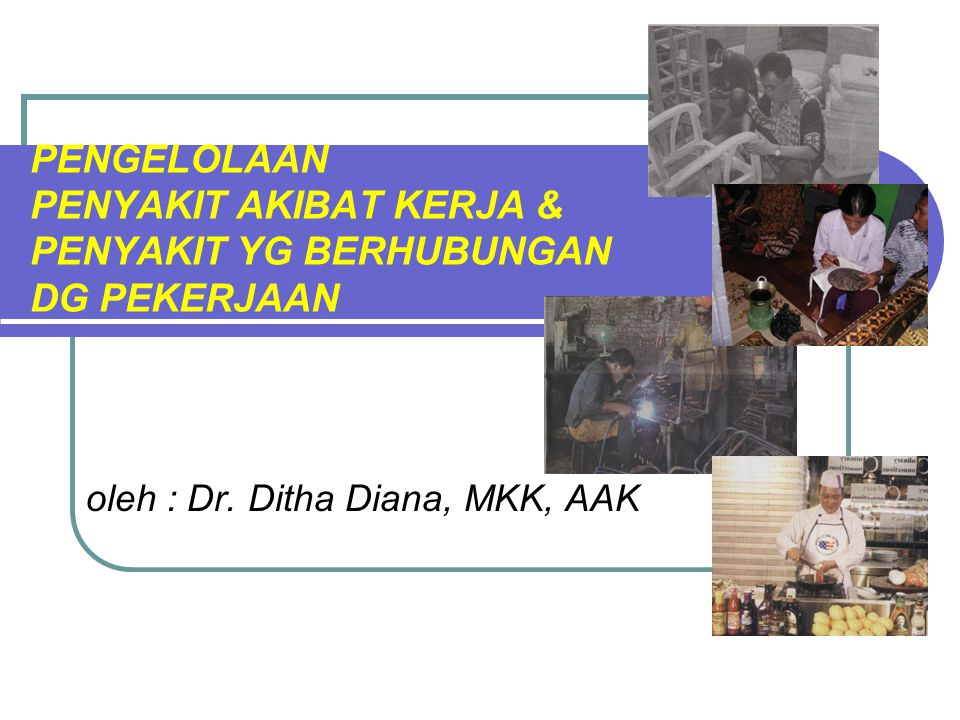 PENGELOLAAN PENYAKIT AKIBAT KERJA & PENYAKIT YG BERHUBUNGAN DG PEKERJAAN oleh : Dr. Ditha Diana, MKK, AAK