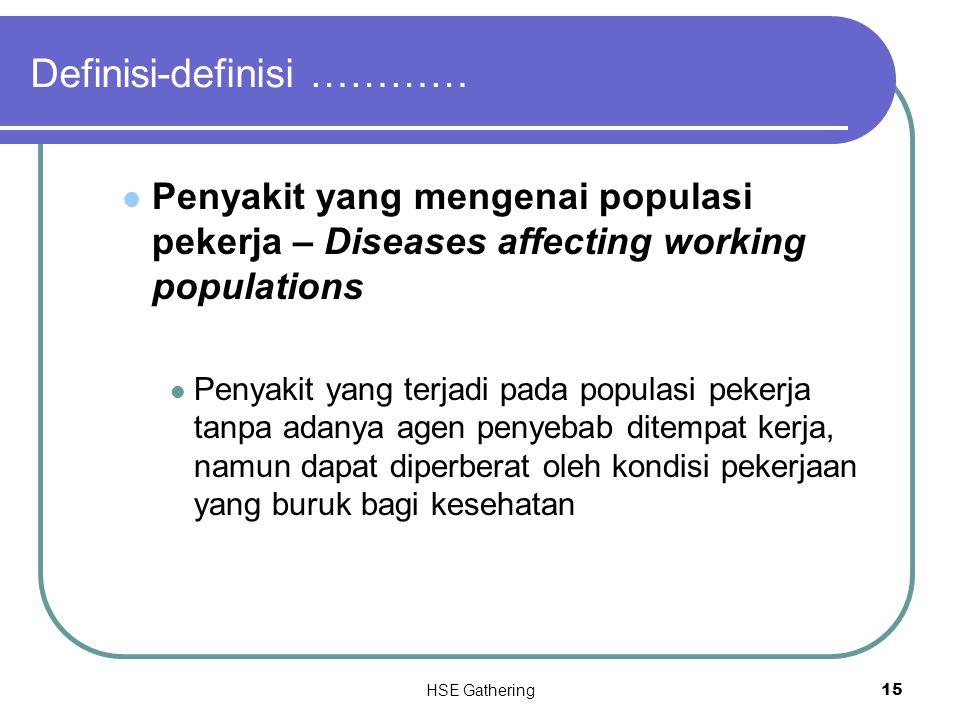 HSE Gathering 15 Definisi-definisi ………… Penyakit yang mengenai populasi pekerja – Diseases affecting working populations Penyakit yang terjadi pada po