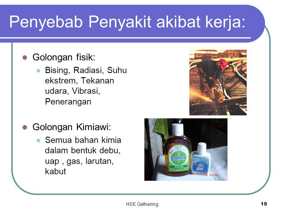 HSE Gathering 19 Penyebab Penyakit akibat kerja: Golongan fisik: Bising, Radiasi, Suhu ekstrem, Tekanan udara, Vibrasi, Penerangan Golongan Kimiawi: S