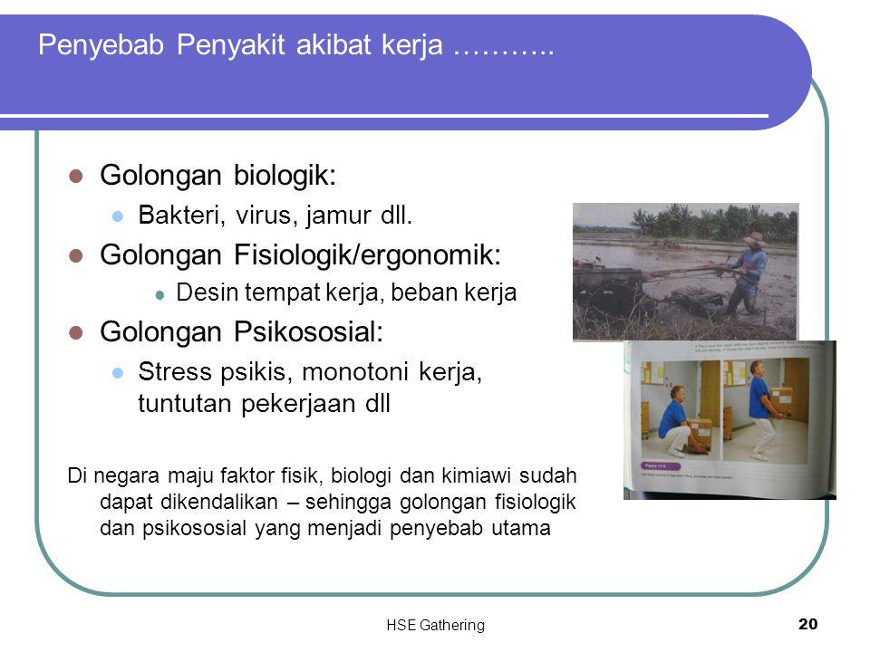 HSE Gathering 20 Golongan biologik: Bakteri, virus, jamur dll. Golongan Fisiologik/ergonomik: Desin tempat kerja, beban kerja Golongan Psikososial: St