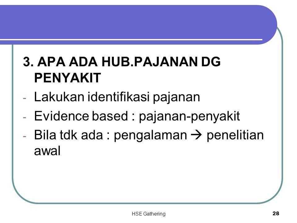HSE Gathering 28 3. APA ADA HUB.PAJANAN DG PENYAKIT - Lakukan identifikasi pajanan - Evidence based : pajanan-penyakit - Bila tdk ada : pengalaman  p