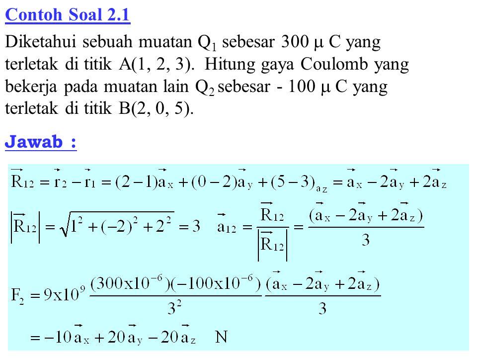 Contoh Soal 2.1 Diketahui sebuah muatan Q 1 sebesar 300  C yang terletak di titik A(1, 2, 3).