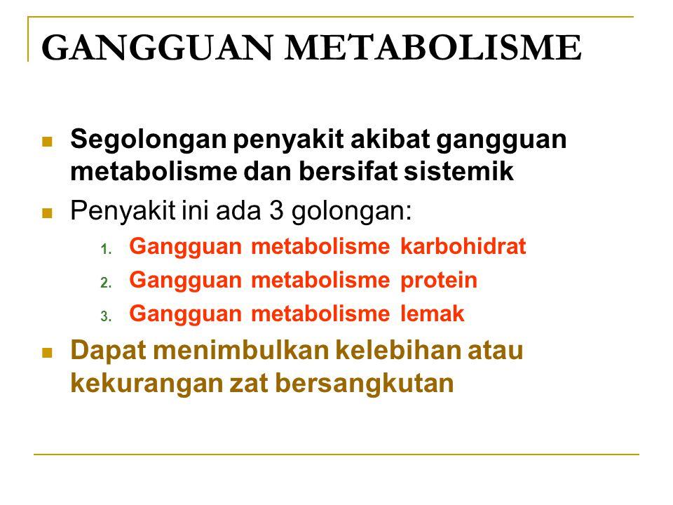 GANGGUAN METABOLISME Segolongan penyakit akibat gangguan metabolisme dan bersifat sistemik Penyakit ini ada 3 golongan: 1. Gangguan metabolisme karboh