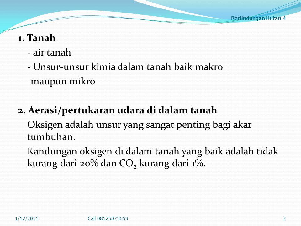 Perlindungan Hutan 4 1. Tanah - air tanah - Unsur-unsur kimia dalam tanah baik makro maupun mikro 2. Aerasi/pertukaran udara di dalam tanah Oksigen ad