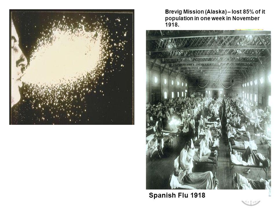 Spanish Flu 1918 Brevig Mission (Alaska) – lost 85% of it population in one week in November 1918.
