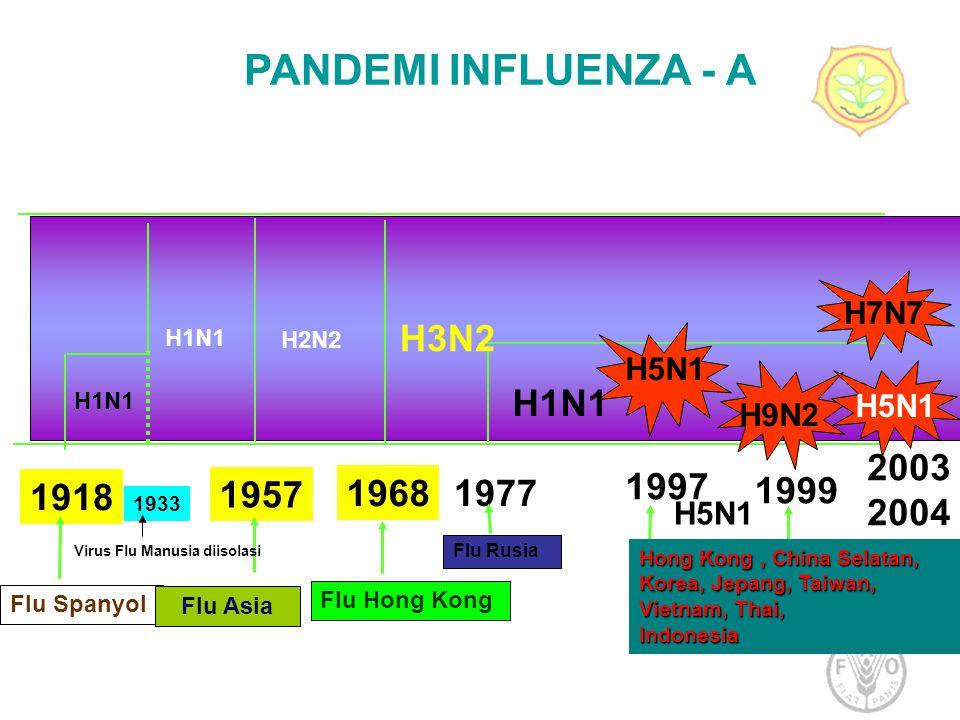 1918 1933 1957 1968 1977 1997 1999 H1N1 H3N2 H5N1 H9N2 H2N2 H1N1 Flu Spanyol Flu Asia Flu Hong Kong Flu Rusia PANDEMI INFLUENZA - A Hong Kong, China S