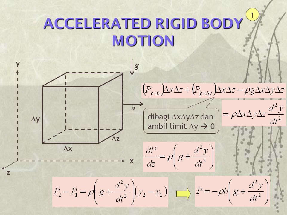 ACCELERATED RIGID BODY MOTION 1 xx x zz yy y z g a dibagi  x  y  z dan ambil limit  y  0