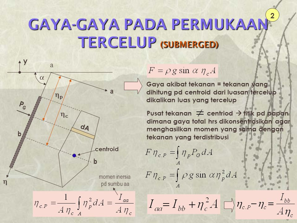 GAYA-GAYA PADA PERMUKAAN TERCELUP (SUBMERGED) 2 PGPG a dA pp  cc  centroid Gaya akibat tekanan = tekanan yang dihitung pd centroid dari luasan t