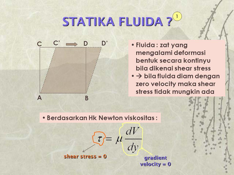 Fluida : zat yang mengalami deformasi bentuk secara kontinyu bila dikenai shear stress  bila fluida diam dengan zero velocity maka shear stress tidak
