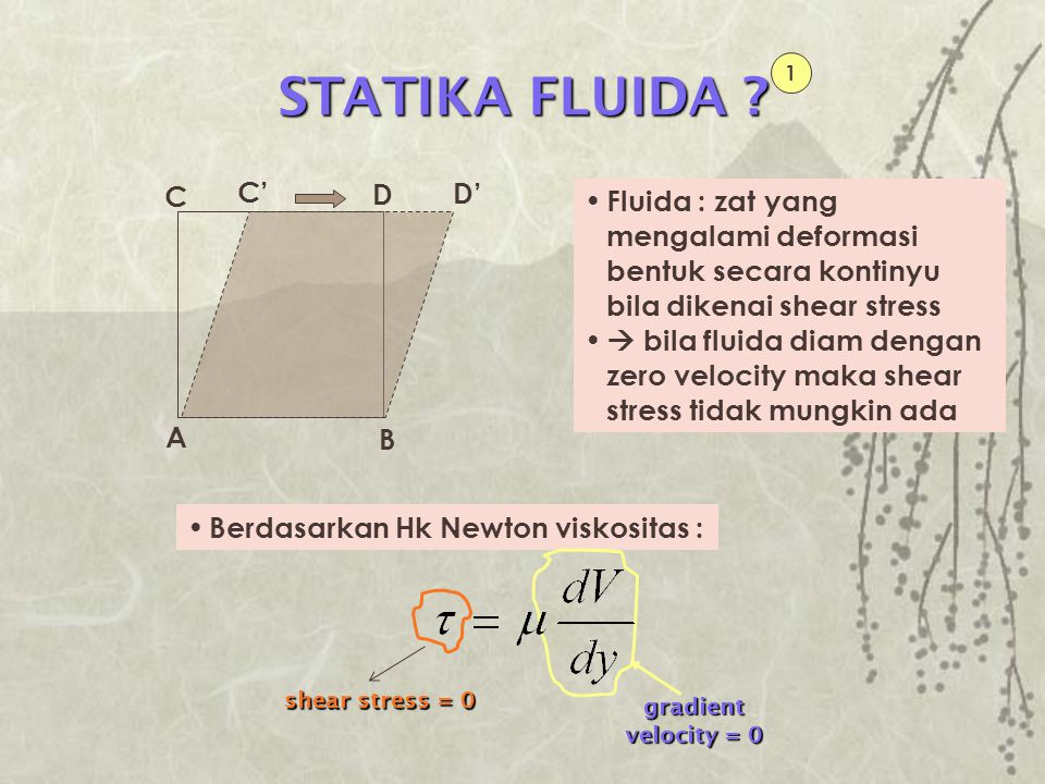 UNIFORM RECTILINEAR ACCELERATION 1 Untuk sistem koordinat inersial : Persamaan tidak berlaku Bila fluida mendapatkan uniform rectilinear acceleration, maka fluida akan diam terhadap sistem koordinat yang dipercepat konstan Analisis kasus sistem koordinat inersial dapat diterapkan, kecuali Maka hasilnya adalah : Arah laju perubahan tekanan maximum (gradien tekanan) : (g - a) Garis tekanan konstan tegak lurus arah (g - a) Variasi tekanan dari titik ke titik  integrasi persamaan diatas