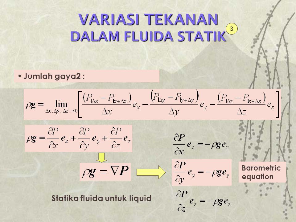 BOUYANCY 1 Gaya F yang diberikan fluida statik pada benda yang mengapung/tercelup utk mempertahankan benda dalam kesetimbangan Gaya-gaya yang bekerja pada elemen hdA : Gaya gravitasi Gaya akibat tekanan pada surface S 1 dan S 2 P1P1 dS 2 h dS 1 dA F P2P2 x y z  g