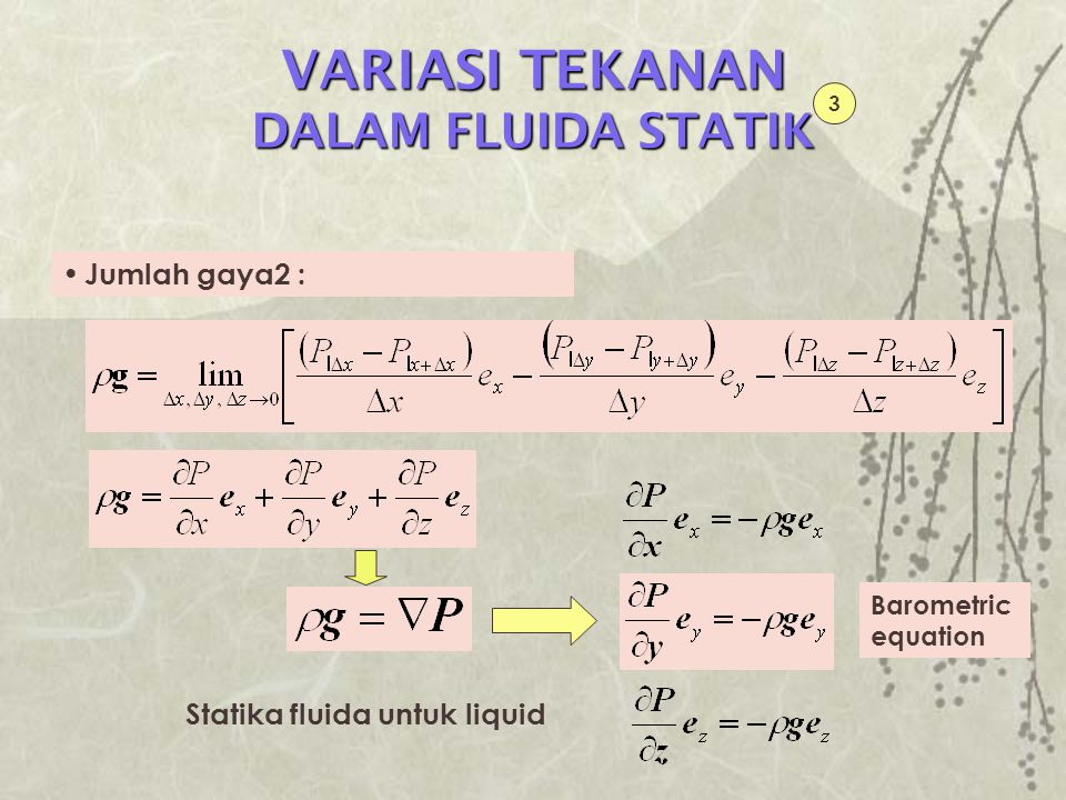 VARIASI TEKANAN DALAM FLUIDA STATIK Statika fluida untuk gas 4