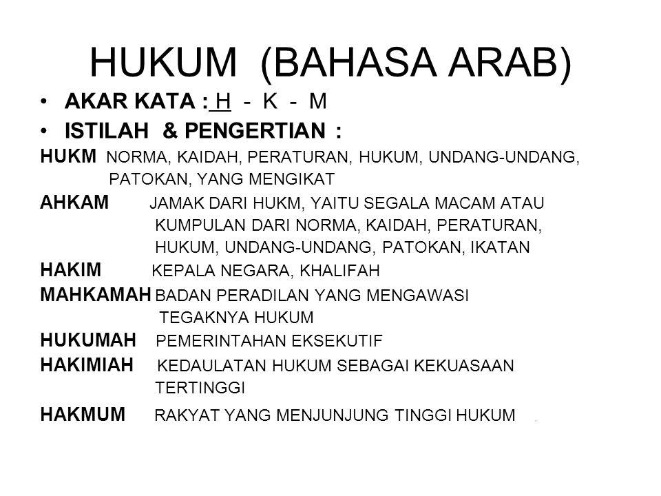 HUKUM (BAHASA ARAB) AKAR KATA : H - K - M ISTILAH & PENGERTIAN : HUKM NORMA, KAIDAH, PERATURAN, HUKUM, UNDANG-UNDANG, PATOKAN, YANG MENGIKAT AHKAM JAM