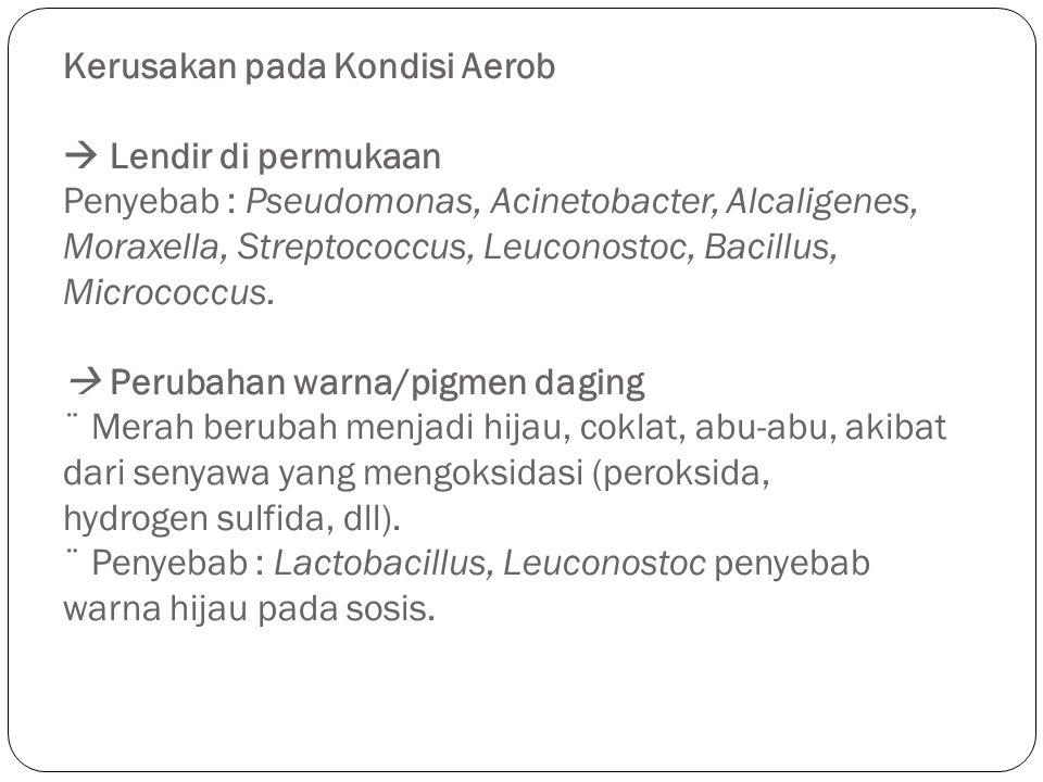 Kerusakan pada Kondisi Aerob  Lendir di permukaan Penyebab : Pseudomonas, Acinetobacter, Alcaligenes, Moraxella, Streptococcus, Leuconostoc, Bacillus, Micrococcus.