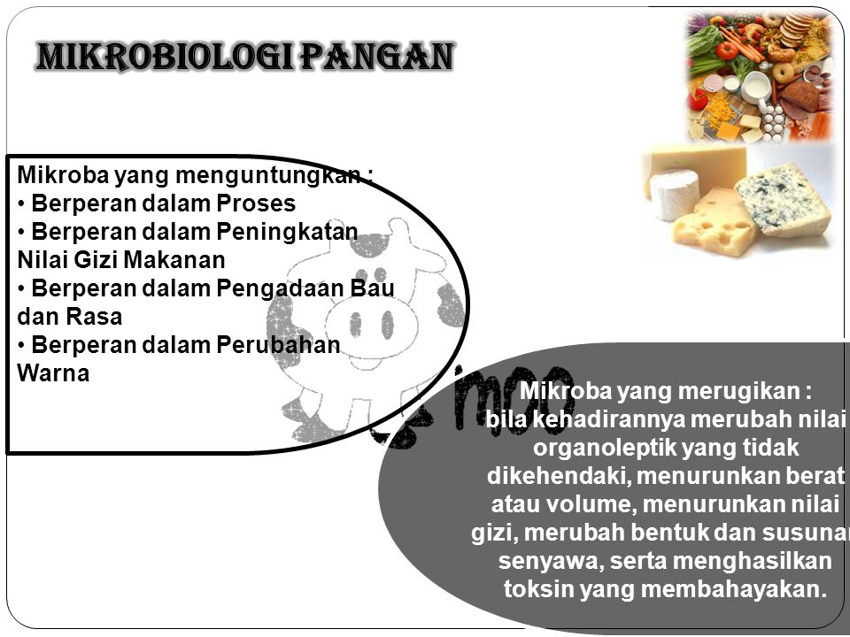 Mikroba yang menguntungkan : Berperan dalam Proses Berperan dalam Peningkatan Nilai Gizi Makanan Berperan dalam Pengadaan Bau dan Rasa Berperan dalam Perubahan Warna Mikroba yang merugikan : bila kehadirannya merubah nilai organoleptik yang tidak dikehendaki, menurunkan berat atau volume, menurunkan nilai gizi, merubah bentuk dan susunan senyawa, serta menghasilkan toksin yang membahayakan.
