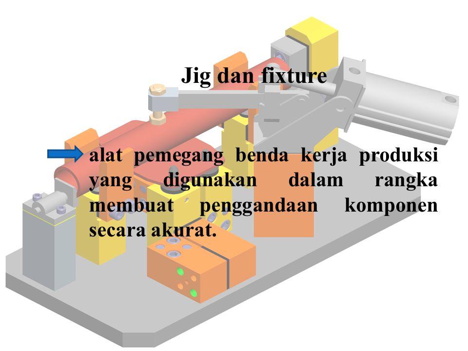 alat pemegang benda kerja produksi yang digunakan dalam rangka membuat penggandaan komponen secara akurat. Jig dan fixture