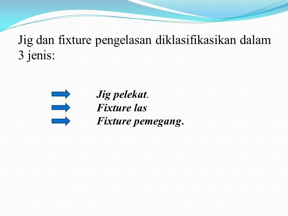 Jig dan fixture pengelasan diklasifikasikan dalam 3 jenis: Jig pelekat. Fixture las Fixture pemegang.