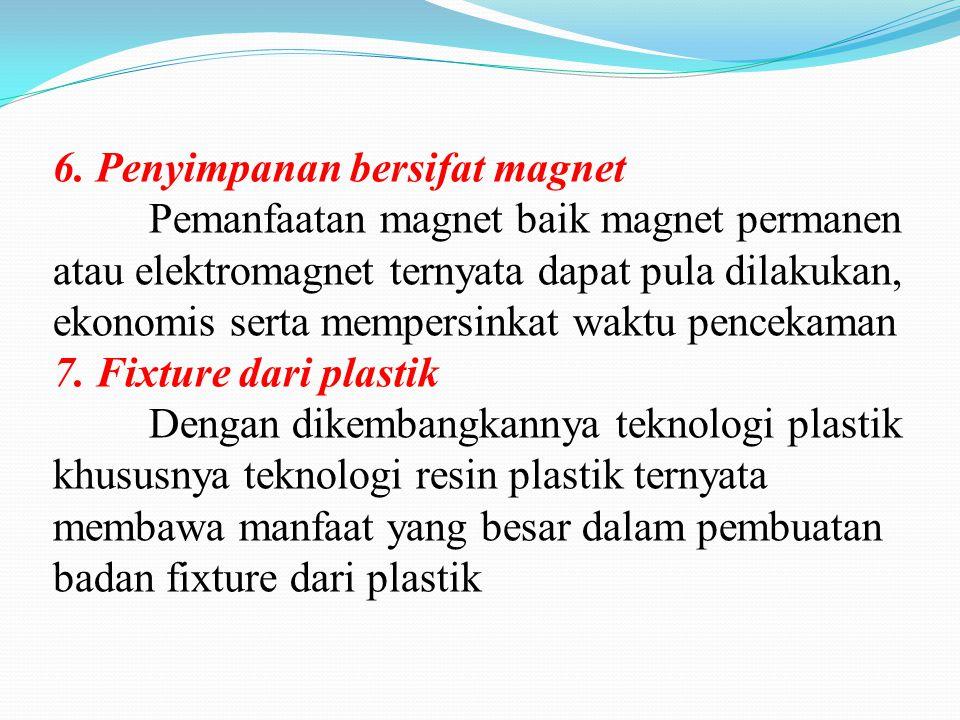 6. Penyimpanan bersifat magnet Pemanfaatan magnet baik magnet permanen atau elektromagnet ternyata dapat pula dilakukan, ekonomis serta mempersinkat w