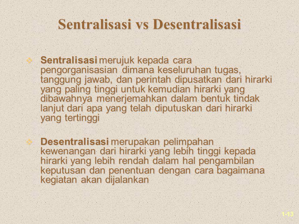1-13 Sentralisasi vs Desentralisasi v Sentralisasi merujuk kepada cara pengorganisasian dimana keseluruhan tugas, tanggung jawab, dan perintah dipusat