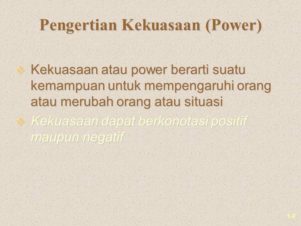 1-2 Pengertian Kekuasaan (Power) v Kekuasaan atau power berarti suatu kemampuan untuk mempengaruhi orang atau merubah orang atau situasi v Kekuasaan d